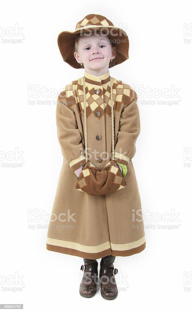 happy girl in brown coat royalty-free stock photo