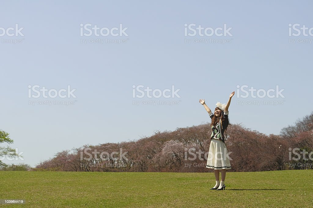 Happy girl in meadow royalty-free stock photo