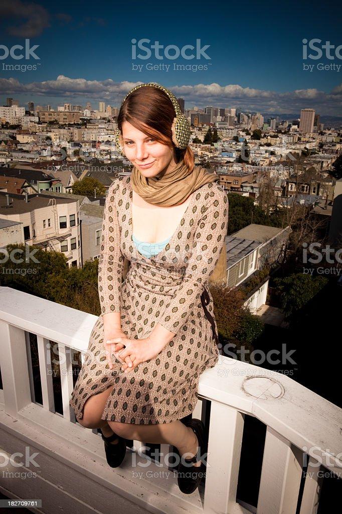 Happy Girl in San Francisco royalty-free stock photo
