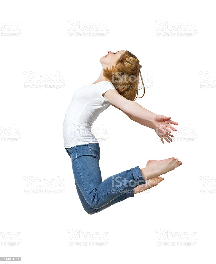 happy girl jumping isolated on white royalty-free stock photo