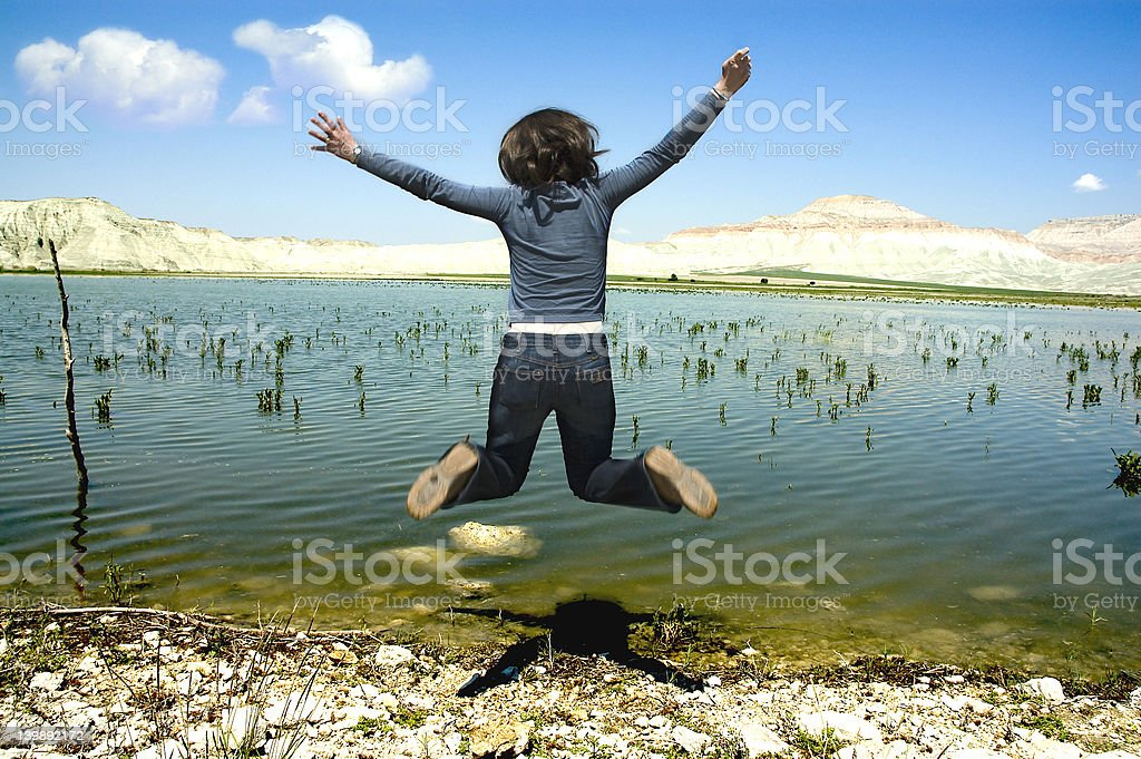 Happy Girl Jumping royalty-free stock photo