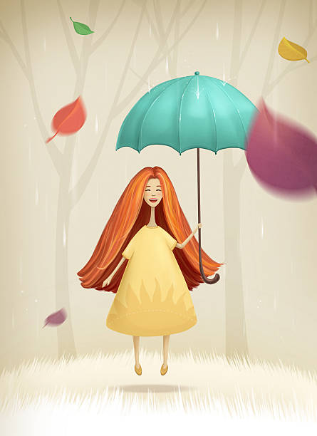 Happy Girl jumping with umbrella in autumn stock photo