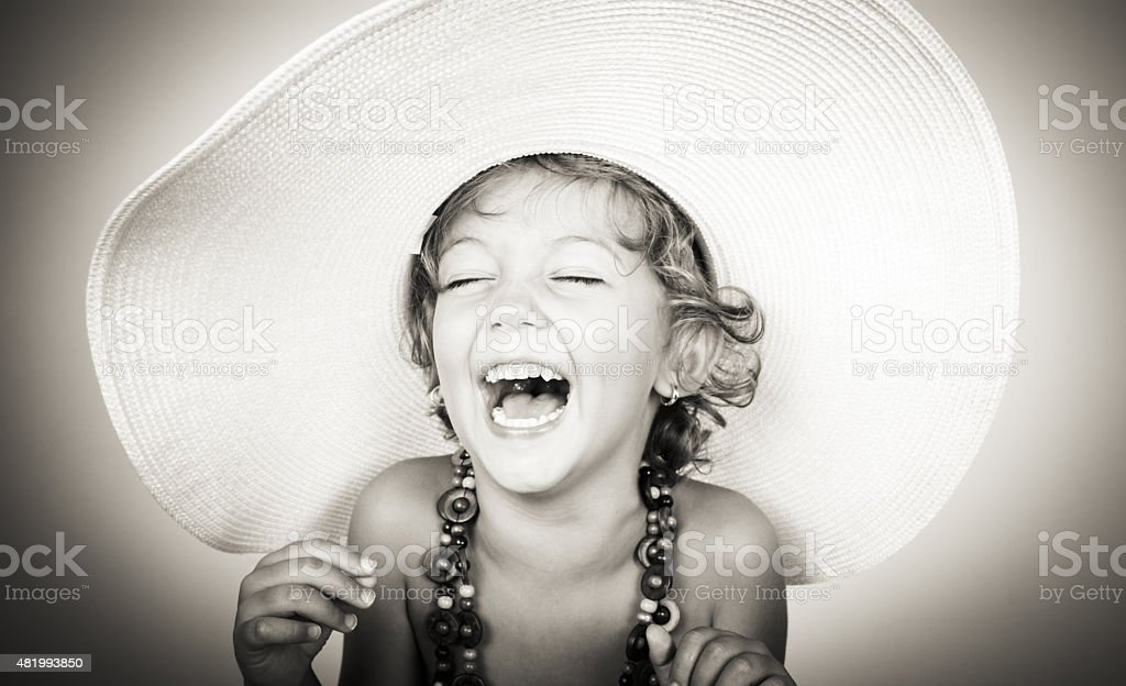 happy girl laughing stock photo