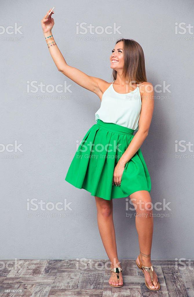 happy girl making selfie photo stock photo