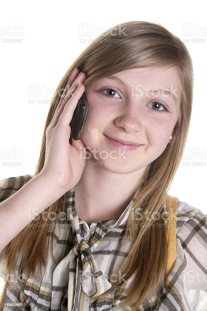 Happy Girl on Cell Phone royalty-free stock photo