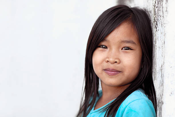 happy girl outdoors - philippines girl stock photos and pictures