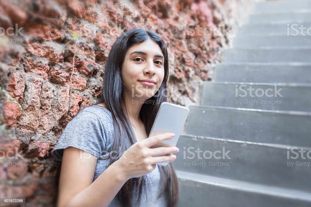 Happy girl phone talking photo libre de droits
