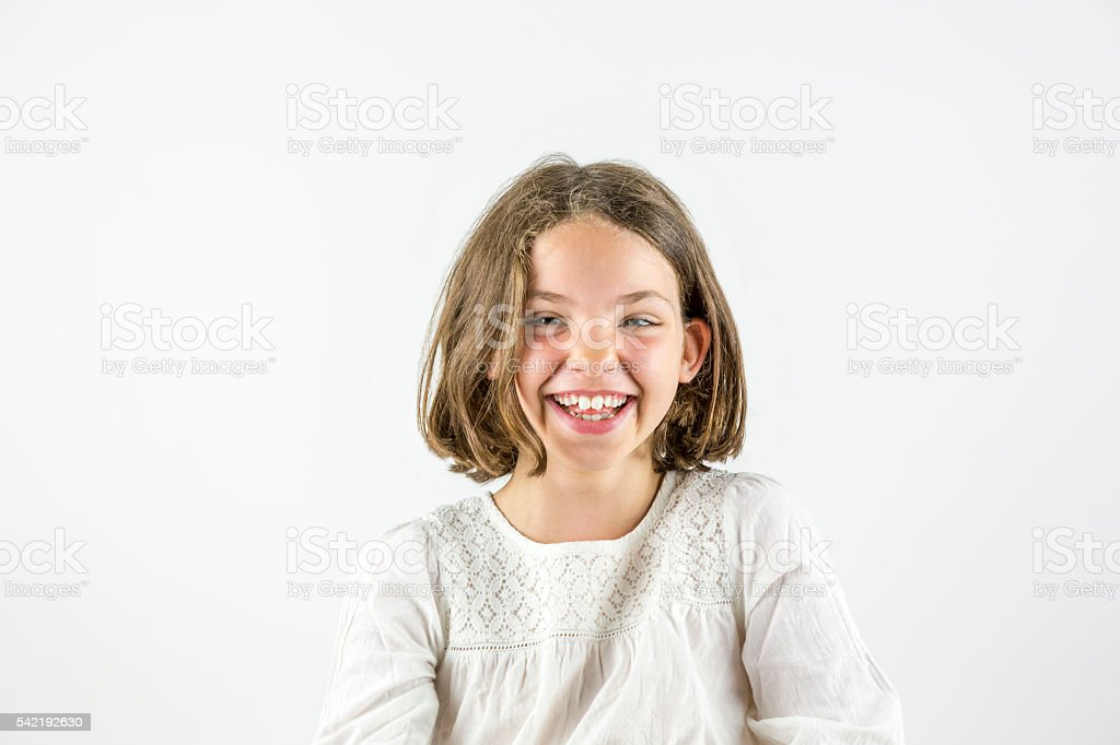 Happy girl portrait isolated on white. royalty-free stock photo