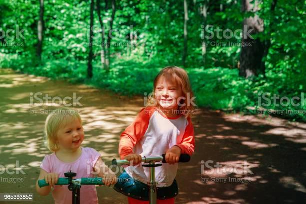 Foto de Garota Feliz Montando Scooters Na Natureza De Verão e mais fotos de stock de Alegria