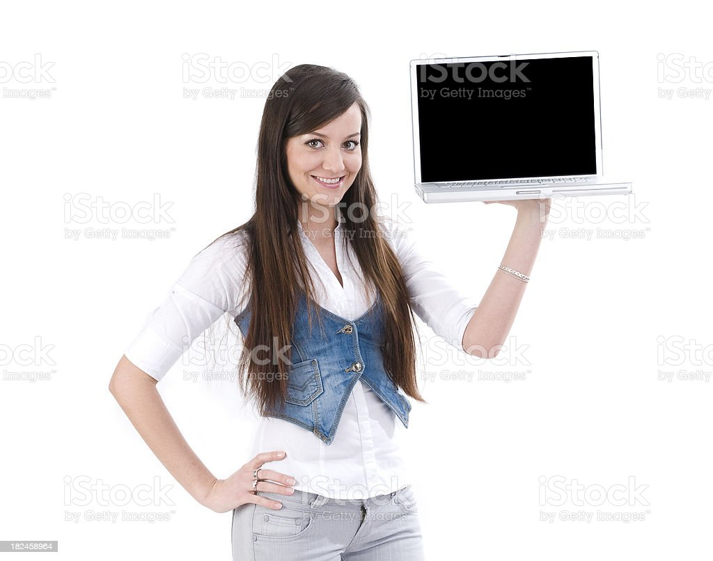 Happy girl showing Laptop royalty-free stock photo