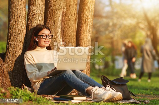 Happy girl sitting with laptop near tree at sunset, having rest