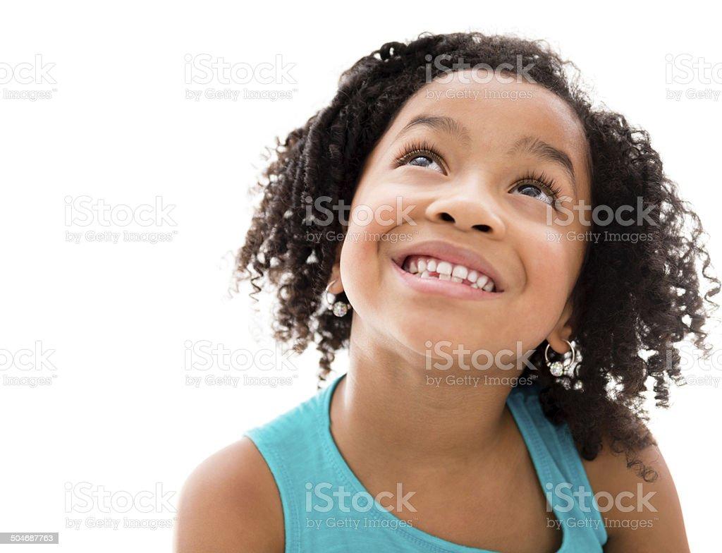 Happy girl thinking stock photo