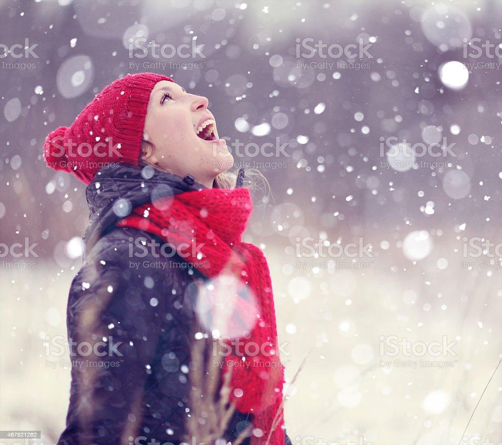 happy girl winter snow stock photo