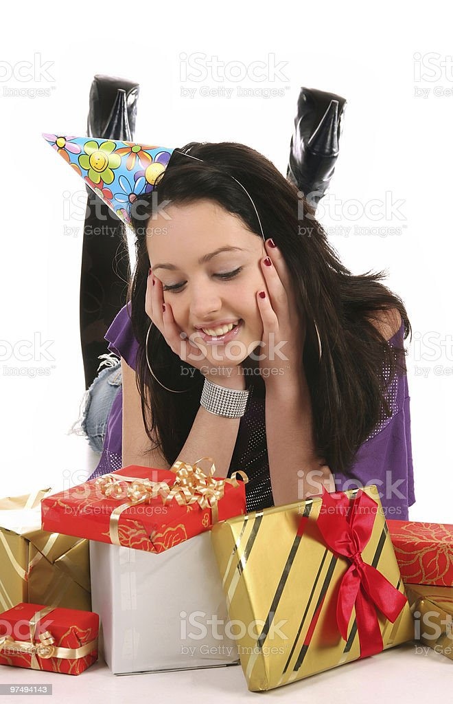 happy girl with a gifts royalty-free stock photo