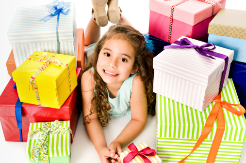 istock Happy girl with a lot of gifts 174688641