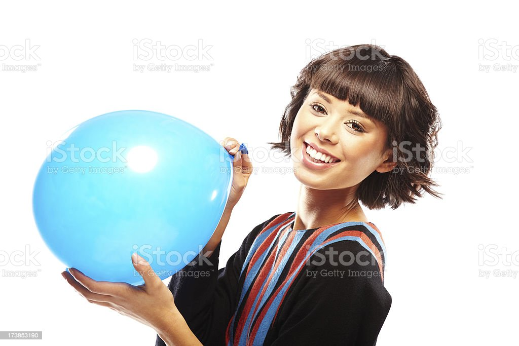 Happy girl with blue balloon royalty-free stock photo