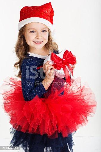 1061876006istockphoto Happy girl with christmas gift box 496662006