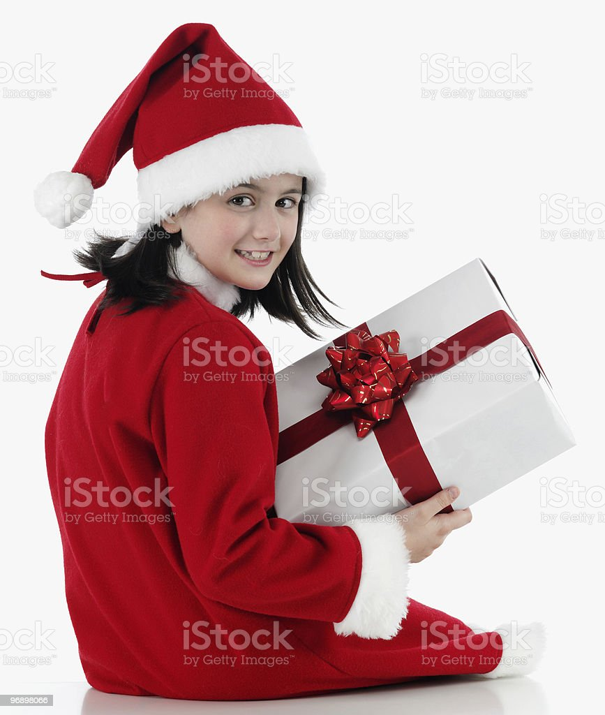 Happy girl with christmas hat royalty-free stock photo