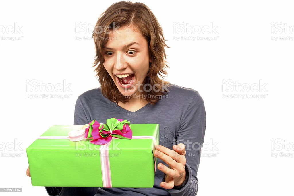 happy girl with gift royalty-free stock photo