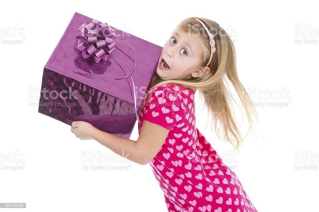 Happy girl with gifts royalty-free stock photo