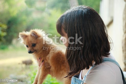 istock Happy girl with her little pomeranian 1172149224