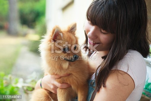 istock Happy girl with her little pomeranian 1172149241