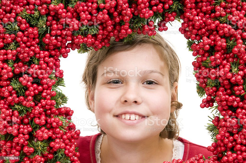 happy girl with holliday wreath royalty-free stock photo