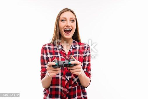 istock Happy girl with joystick 849167112