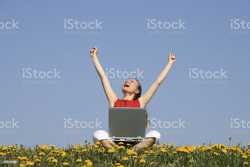 Happy girl with laptop royalty-free stock photo