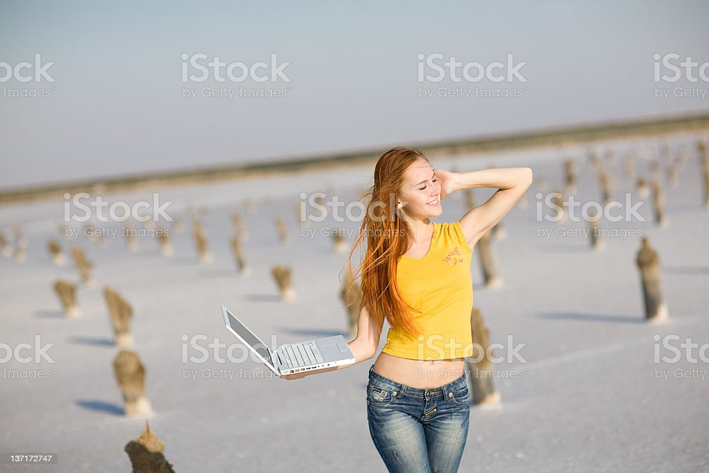 happy girl with notebook royalty-free stock photo
