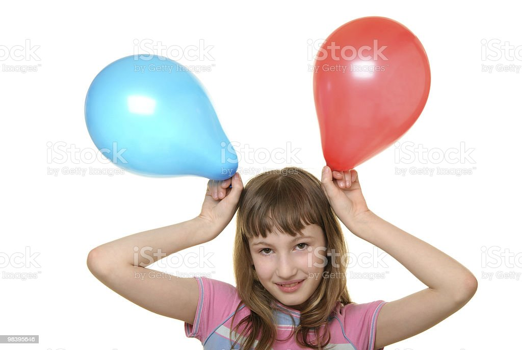 Ragazza felice con palloncini colorati due foto stock royalty-free