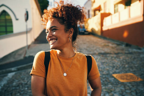 Happy girls are the prettiest stock photo