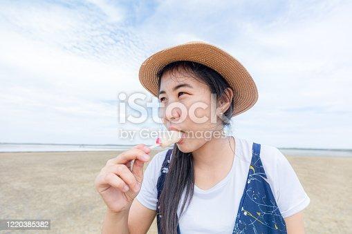 612518776 istock photo Happy girls enjoy ice cream and summer vacations 1220385382