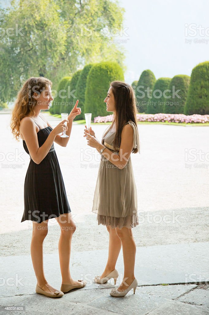 Happy Girls with Champagne royalty-free stock photo