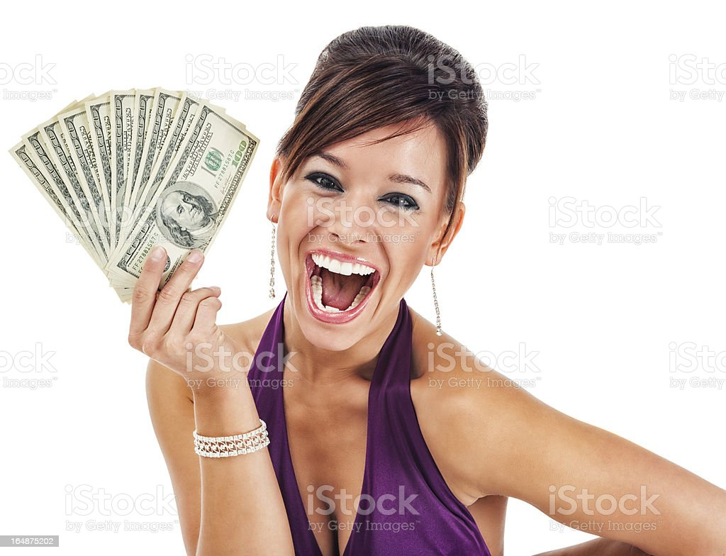 Happy Glamorous Young Woman Holding Money royalty-free stock photo