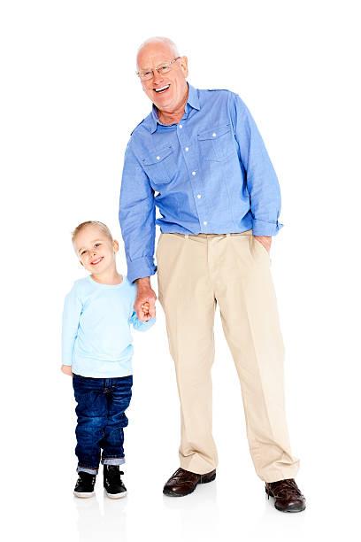 Feliz abuelo y nieto Aislado en blanco - foto de stock