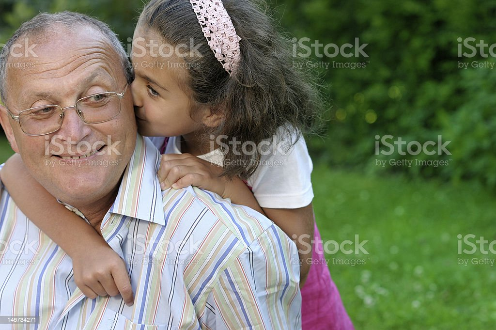 Happy grandfather and kid royalty-free stock photo