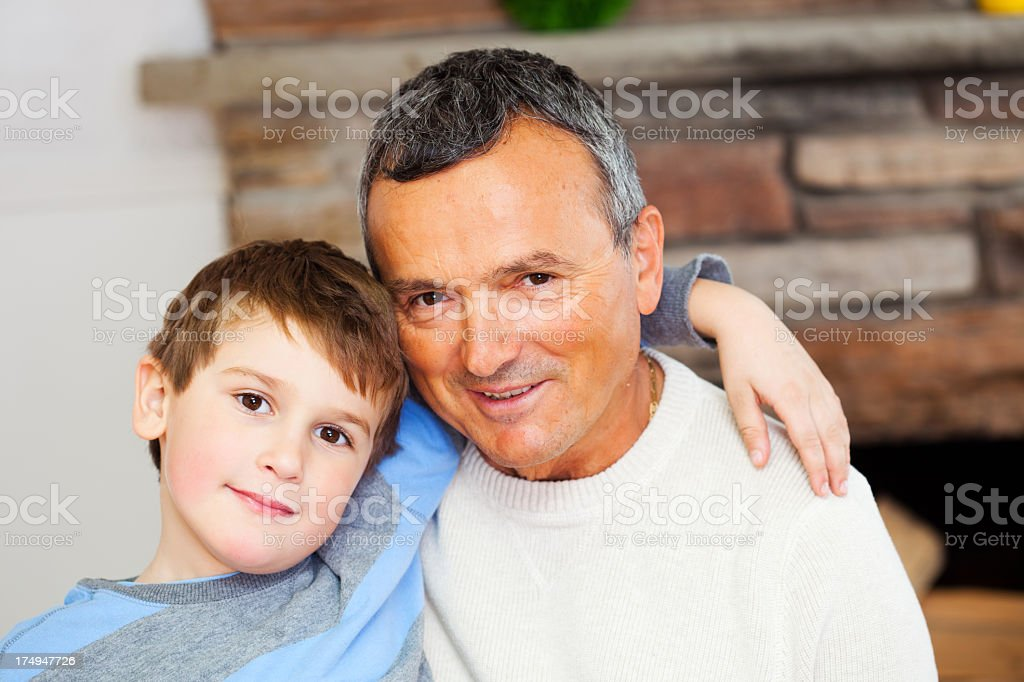 Happy grandfather with a grandson royalty-free stock photo