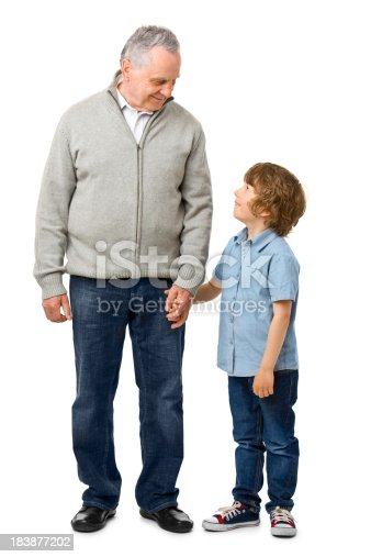 happy grandfather with grandchild  isolated on white