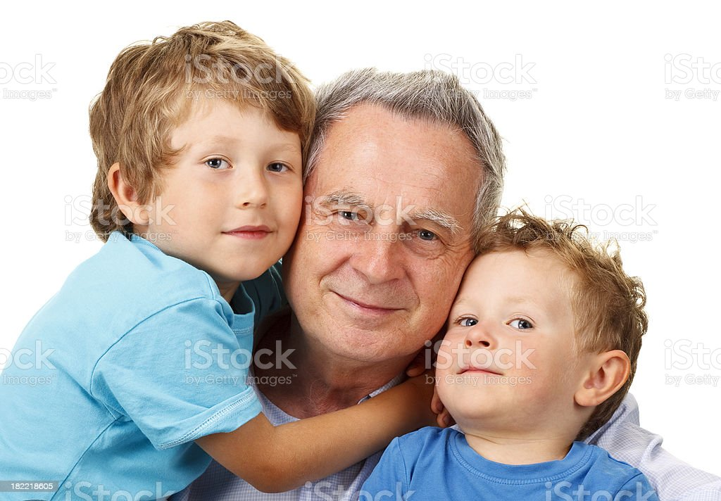 happy grandfather with grandchildren royalty-free stock photo