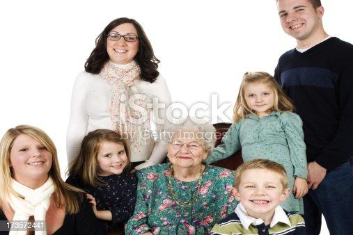 istock Happy Grandma and grandchildren retirement family male female 90 years 173572441