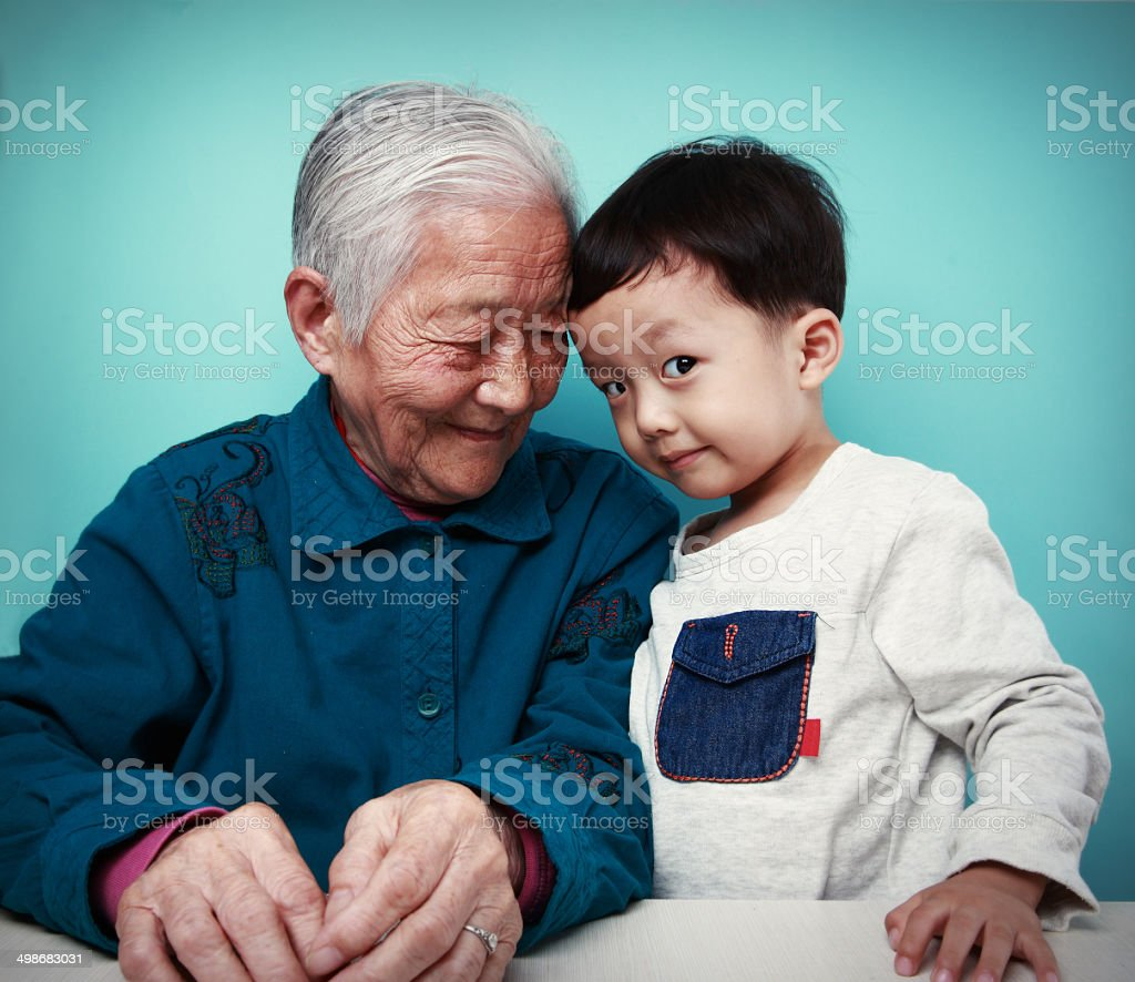 Happy grandma and her Grandson stock photo
