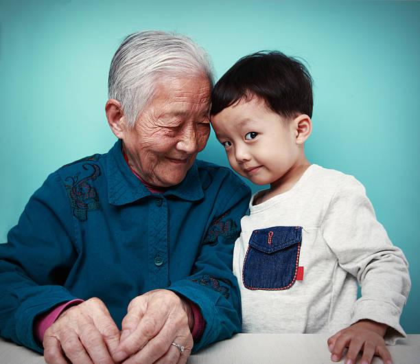 Happy grandma and her Grandson stock photo