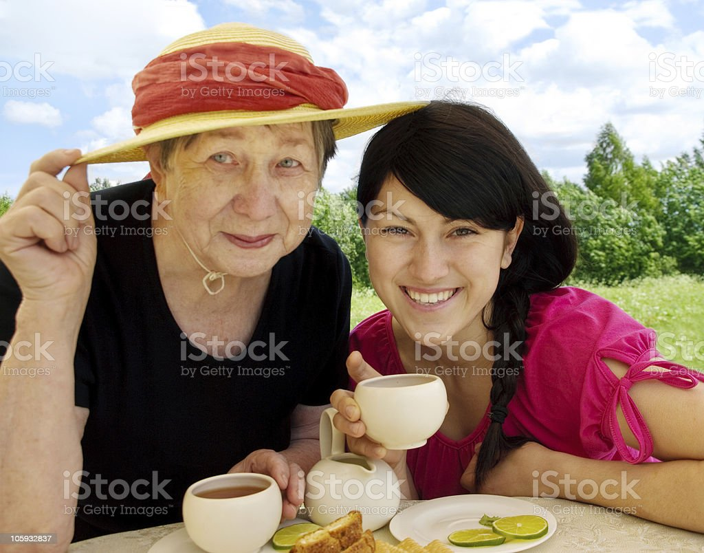 Happy grandmother and granddaughter royalty-free stock photo