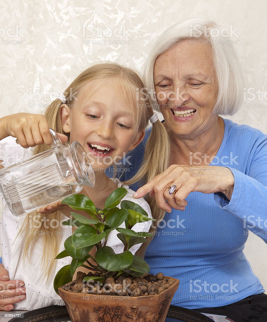 Happy Grandmother and Granddaughter Sprinkle a Plant in Flowerpot. royalty-free stock photo