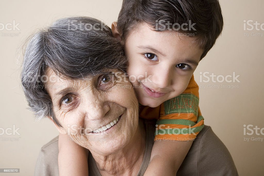 Happy grandmother and son royalty-free stock photo