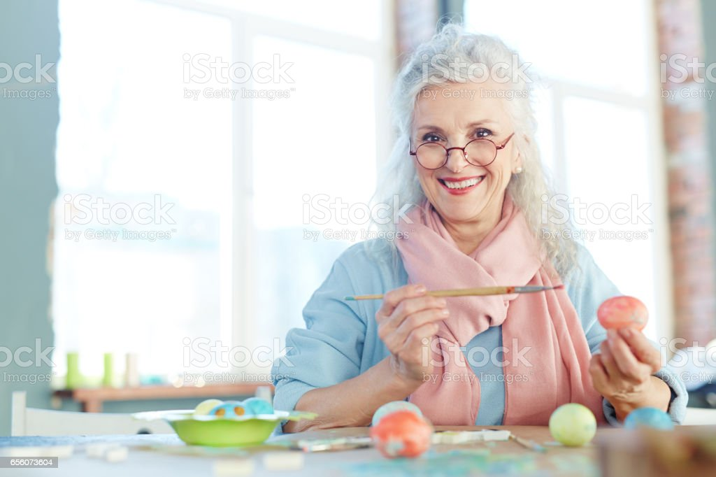 Happy grandmother stock photo