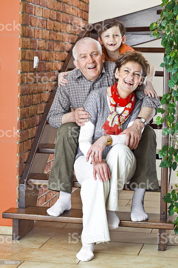 Happy grandparents with grandson royalty-free stock photo