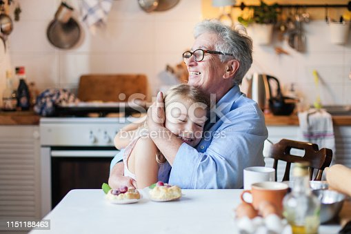 istock Happy grangmother is hugging granddaughter in cozy home kitchen. Family is cooking together. Senior woman and cute little child girl are smiling. Kid is enjoying kindness, warm hands, care, support. 1151188463