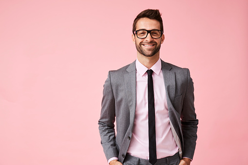 Happy Grey Suit Guy Stock Photo - Download Image Now
